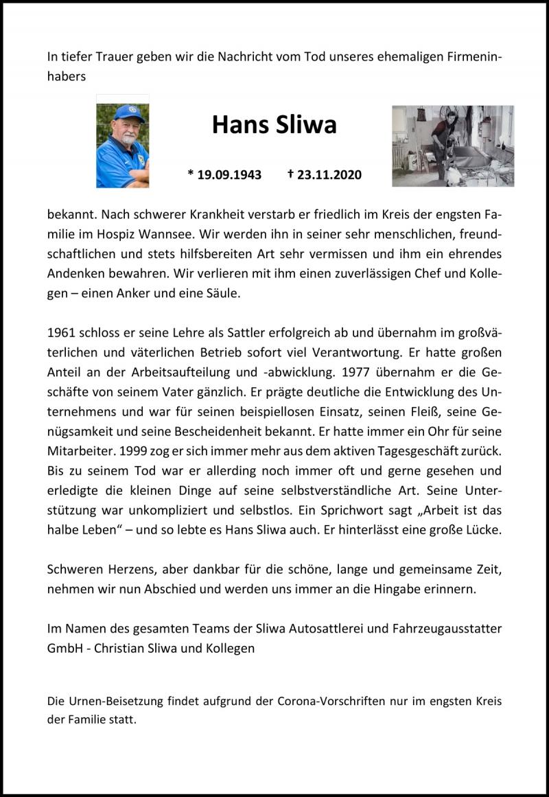 Nachruf Hans Sliwa (* 19.09.1943  † 23.11.2020)